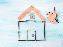 Building house concept flat lay with and wood Royalty Free Stock Image