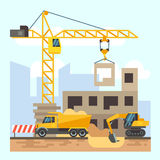 Construction engineering industrial workers working with building tools and equipment vector for Concept home architecture and engineering