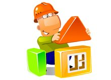 Building a house with construction modules Stock Photos