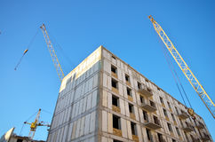 Building house and crane Royalty Free Stock Photo