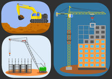 Building house and cranes. Building house engineering with cranes and excavator. Flat vector illustration Royalty Free Stock Photos