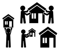 Building of house with figures of people. Icons building of house with figures of people Royalty Free Stock Image