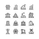 Building House or Home Black Thin Line Icon Set. Vector Stock Photography
