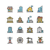 Building House or Home Color Thin Line Icon Set. Vector. Building House or Home Color Thin Line Icon Set Include of Government, School, Shop and Church Pictogram Royalty Free Stock Photography