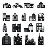Building and house icons set Stock Photos