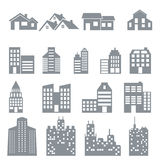 Building and house icons set Royalty Free Stock Photography