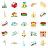 Building house icons set, cartoon style Royalty Free Stock Photos