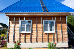 Building house, installation of galvanized crate Royalty Free Stock Photo