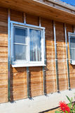 Building house, installation of galvanized crate Royalty Free Stock Photography