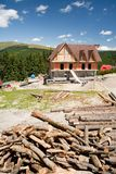 Building a house in mountains Royalty Free Stock Images