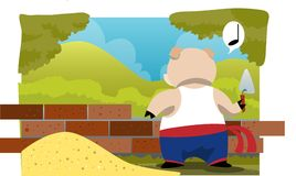 Building A House Is Not Easy For A Pig Royalty Free Stock Photos