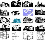 Building house and plan set. Architectures image Stock Images