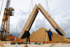 Building a house, roof placement Stock Photography