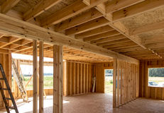 Building a house in skeleton technology Stock Photo