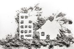 Building and house under bombing silhouette drawing. Made in ash or dust as war crime, terrorism, demolition, catastrophe, destruction concept Stock Photo