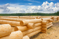 Building a house from wooden logs Royalty Free Stock Image