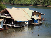 Building houseboat on the lake Royalty Free Stock Photos