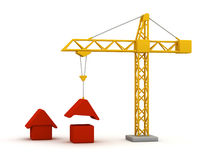 Building houses. With crane - 3D render Stock Photography