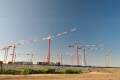 Many cranes against the sky Royalty Free Stock Photos