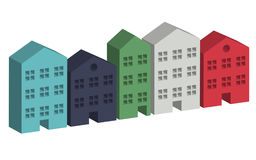 Building housing street in 3D. Vector Royalty Free Stock Photos