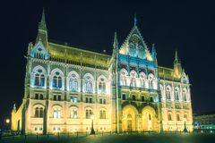 Building of Hungarian Parliament in Budapest. Building of Hungarian Parliament on Danube river at night, Budapest. Clipping path of sky stock photos