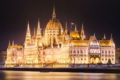 Building of Hungarian Parliament in Budapest. Building of Hungarian Parliament on Danube river at night, Budapest, Hungary Royalty Free Stock Photo