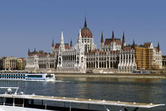 Building of Hungarian Parliament in Budapest Royalty Free Stock Images