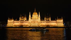 Building of the Hungarian Parliament in the evening. Budapest, Hungary. stock video