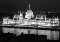Building of Hungarian Parliament at night, main landmark of Budapest Royalty Free Stock Image