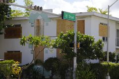 Building with hurricane shutters Irma 2017. Image of a building boarded up for Hurricane Irma 2017 Miami Beach Royalty Free Stock Image