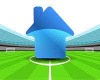 Building icon in the midfield of football stadium vector Royalty Free Stock Image