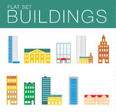 Building icon set. Abstract architecture. Illustrator building icon set. Abstract architecture. Flat style Stock Photos