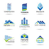 Building icon set. Housing, nature, house, chalet, residence, a set of icons that can be used in areas such as tower Stock Photo