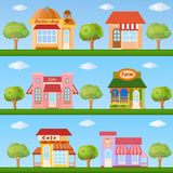 Building icon set. Store and cafe building front view on nature Royalty Free Stock Photo
