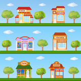 Building icon set. Store and cafe building front view on nature Royalty Free Stock Images
