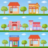 Building icon set. Store and cafe building front view on nature Stock Image