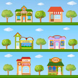 Building icon set. Store and cafe building front view on nature Stock Images