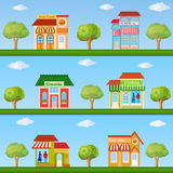 Building icon set. Store and cafe building front view on nature Royalty Free Stock Photography