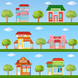 Building icon set. Store and cafe building front view on nature Stock Photography