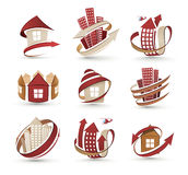 Building icons. A collection of icons of buildings. Vector illustration Royalty Free Stock Photos