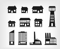 Building icons. Set of various buildings. This is file of EPS8 format Royalty Free Stock Images