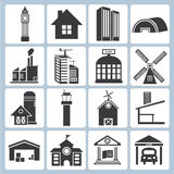Building icons. Set of 16 building icons vector illustration