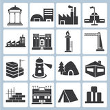 Building icons. Set of 16 building icons royalty free illustration