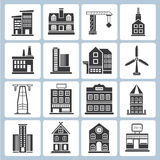 Building icons. Set of 16 building icons stock illustration