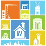 Building icons, background Royalty Free Stock Image