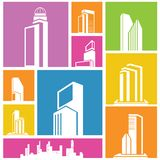 Building icons, background. City, metropolis background, building icon, colorful background Royalty Free Stock Images