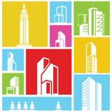 Building icons, background. City, metropolis background, building icon, colorful background Royalty Free Stock Image