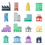 Building icons .  building flat design.  vector illustration Royalty Free Stock Images