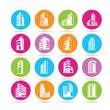 Building icons. Collection of 16 building icons in colorful buttons vector illustration