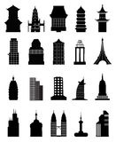 Building Icons Collection Set. Vector illustration of various type of building icons collection set on a white background Royalty Free Stock Photography